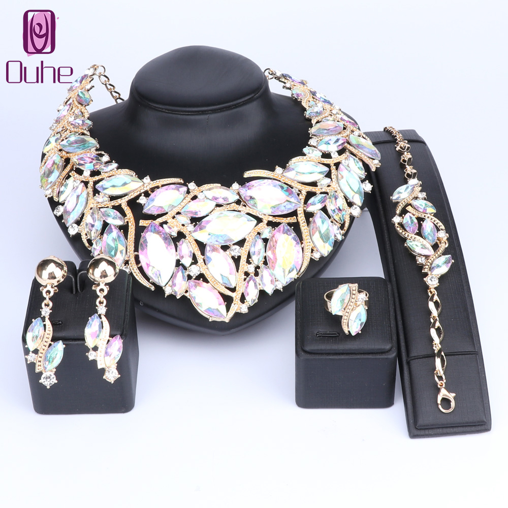 OUHE Fashion Indian Jewellery Bohemia Crystal Necklace Sets Bridal Jewelry Brides Party Wedding Accessories DecorationOUHE Fashion Indian Jewellery Bohemia Crystal Necklace Sets Bridal Jewelry Brides Party Wedding Accessories Decoration