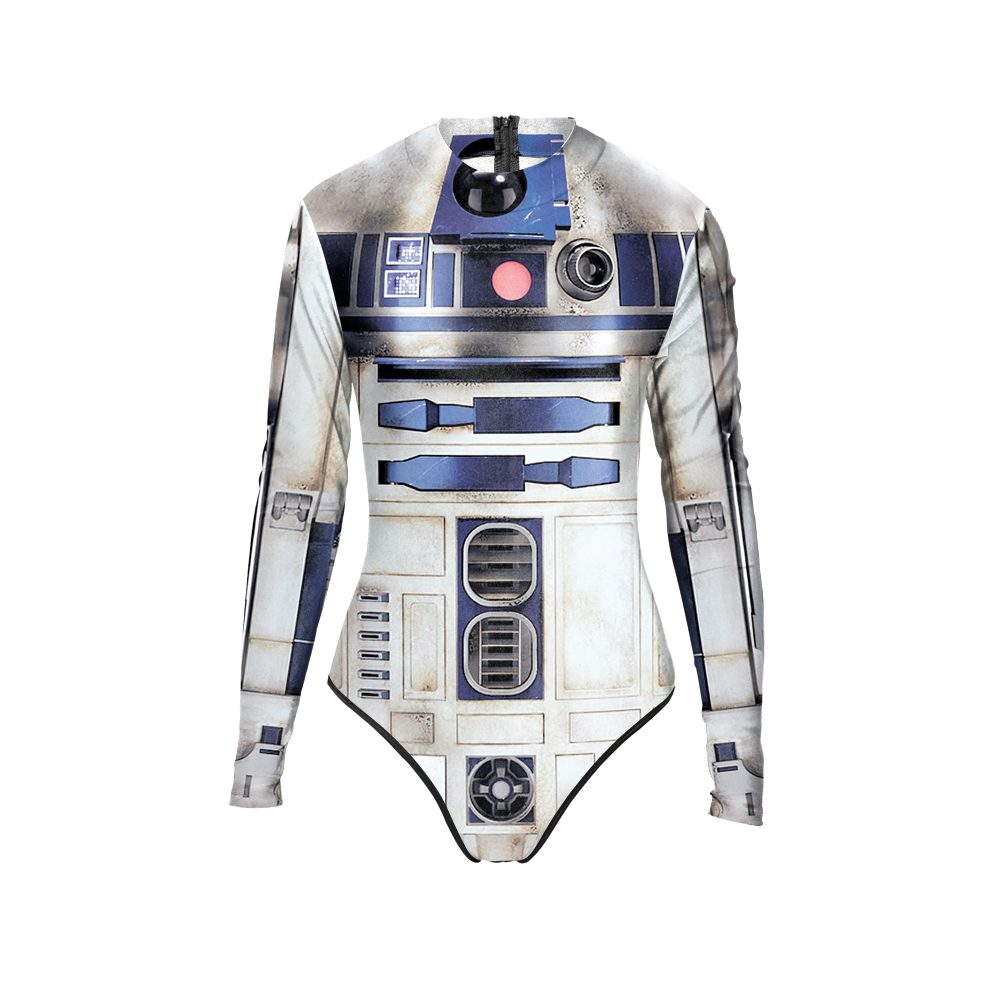 New 015 Girl ARTOO 2.0 robot R2 D2 Star Wars Prints Zip Long Sleeve One Piece Swimsuit Monokini Women Swimwear Bathing Suit new 047 girl adventure time princess bubblegum prints zip long sleeve one piece swimsuit monokini women swimwear bathing suit