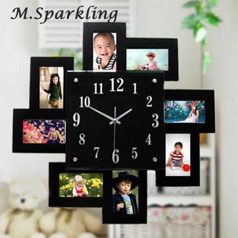 Большие настенные часы деревянные фоторамка с часами цифровые настенные часы обои Saati Horloge Murale Relogio де Parede часы Klok домашний декор