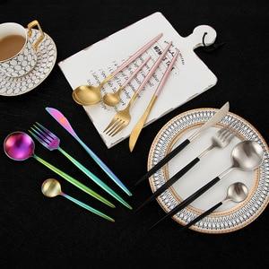 Image 5 - 24 sztuk/zestaw zestaw obiadowy ze stali nierdzewnej 304 czarny zestaw sztućców nóż widelec zestaw stołowe złota płyta Drop Shipping