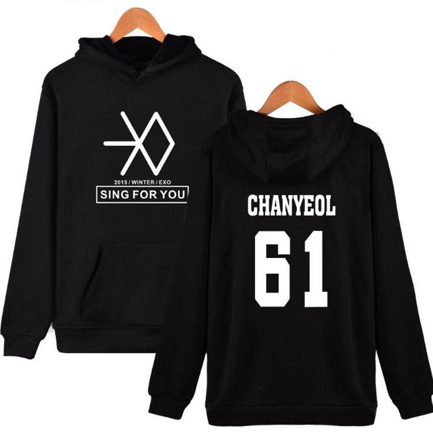 LUHAN LAY KAI SEHUN CHANYEOL XIUMIN BAEKHYUN Winter EXO Kpop Hoodies For Men Women harajuku Sweatshirt Korean Streetwear female