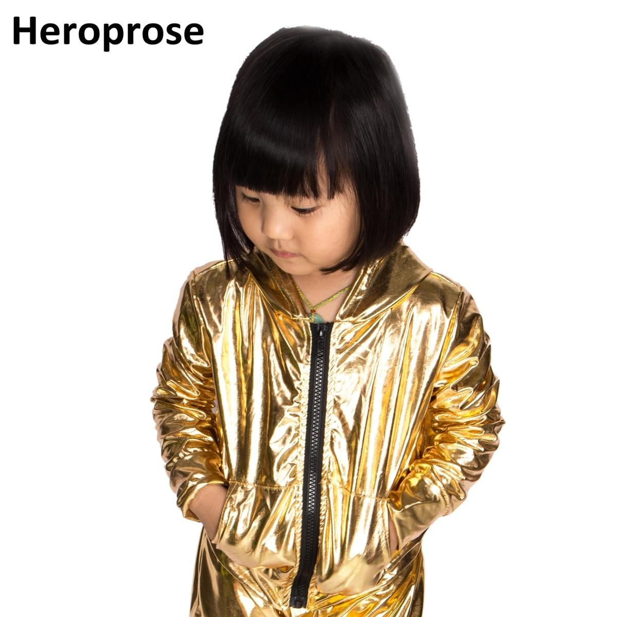 Spring Autumn Kids Gold bomber Jacket Stage Performance Wear paillette feminina casaco Hip Hop dance coat striped trim fluffy panel bomber jacket
