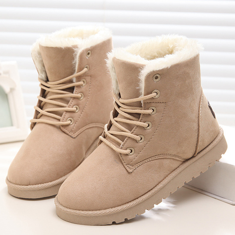 Women Flock Fur Flat Lace Up Winter Snow Suede Ankle Boots Female 1