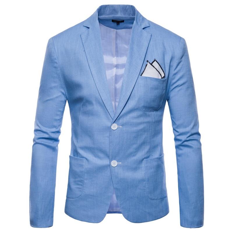 Blazers hommes 2019 lin respirant simple boutonnage costume veste Slim Fit hommes costume manteaux affaires mariage grande taille 4XL blanc rouge