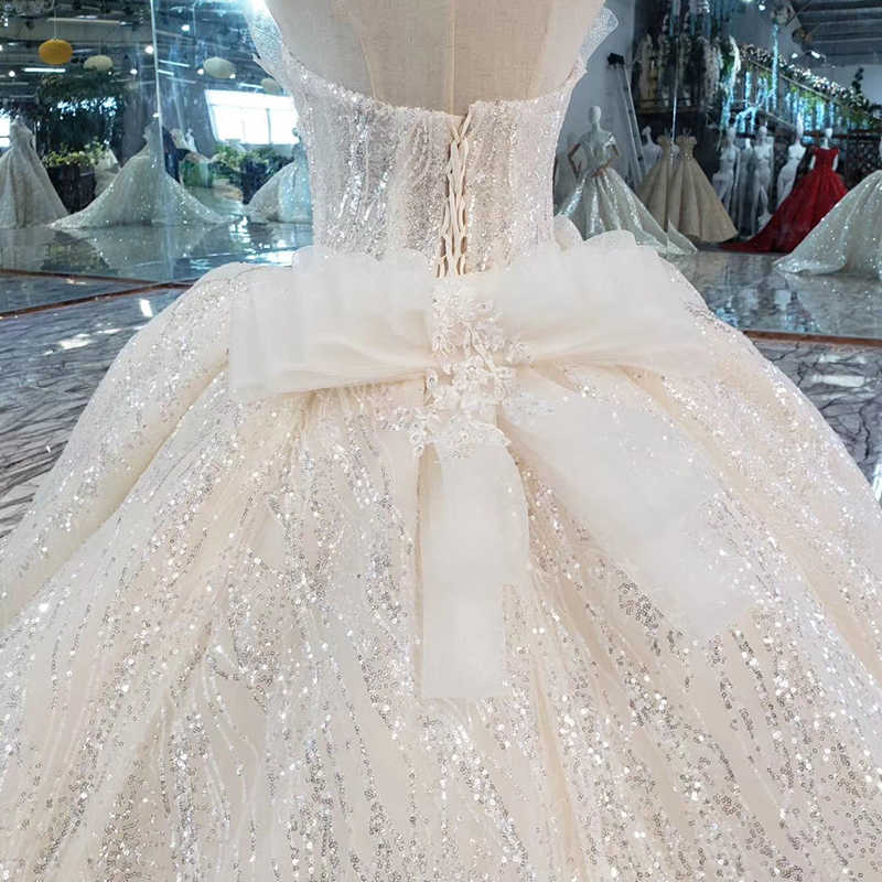 HTL354 błyszczące bez ramiączek suknia ślubna 2019 bez rękawów big bow suknia balowa suknie ślubne dla panny młodej długi pociąg vestido novia encaje