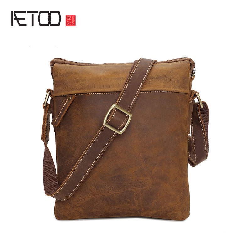 AETOO Cowhide shoulder bag male leather retro oblique cross package crazy horse skin to do the old multi-functional package male aetoo the new retro mad horse skin backpack fashion shoulder shoulder leather package tide package