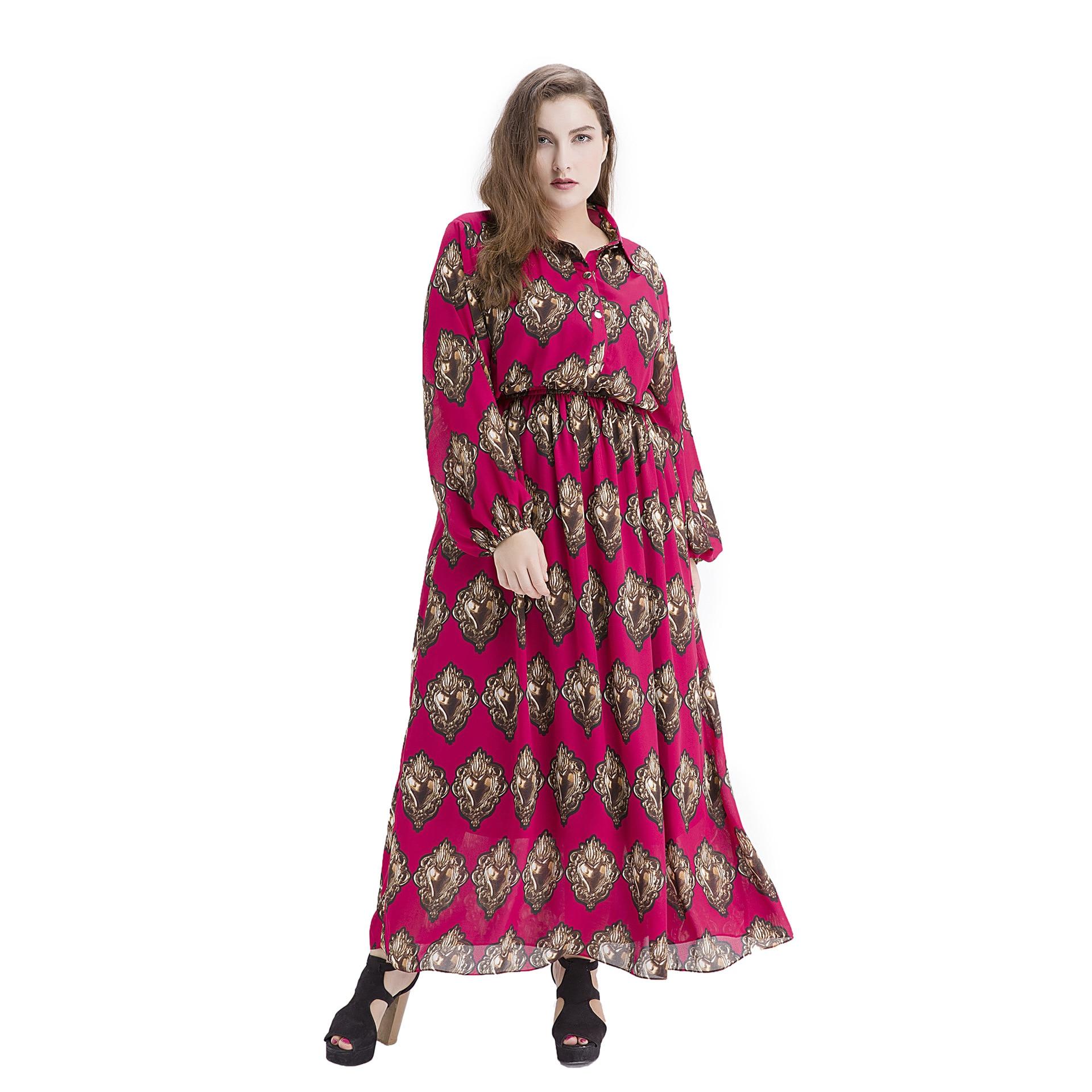 Luxe Vintage imprimé fleurs en mousseline de soie Maxi abaya grande taille femmes vêtements à manches longues robe de plage taille Slim robe 9063