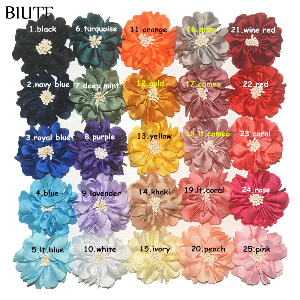 Image 2 - 100pcs/lot 4.5cm Handmade Fabric Flower with Center DIY Boutique Headband & Hairpin Accessories On Sale TH233-in Hair Accessories from Mother & Kids