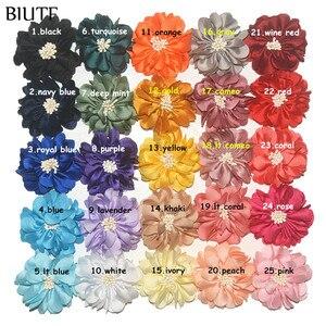 Image 2 - Tissu fait à la main, fleur de 100 cm, 4.5 pièces/lot, avec Center, bandeau et épingle à cheveux, accessoires TH233, DIY Boutique, en vente