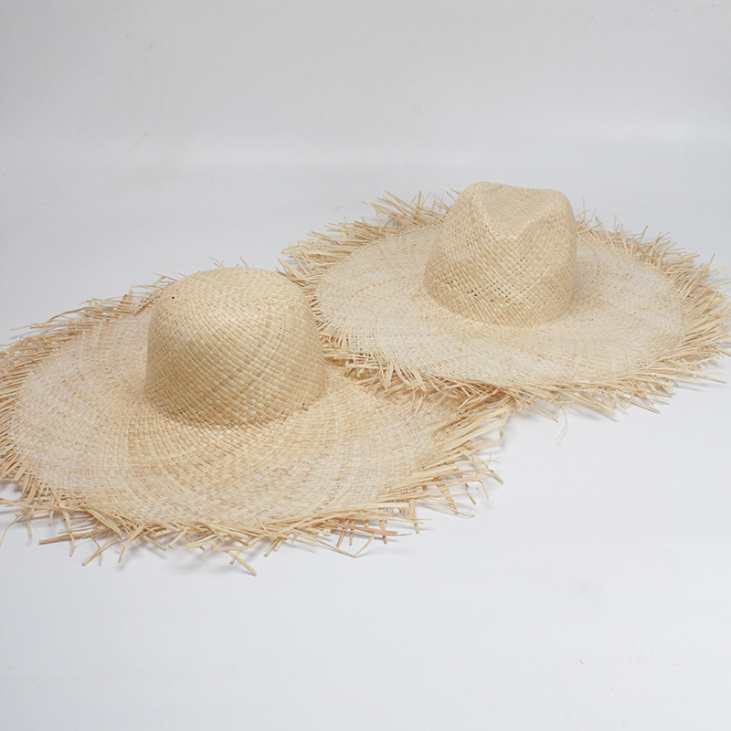01902-axi Summer Handmade Raffia Wind Brim Lady Sun  Cap  Women Holiday Beach Leisure  Hat