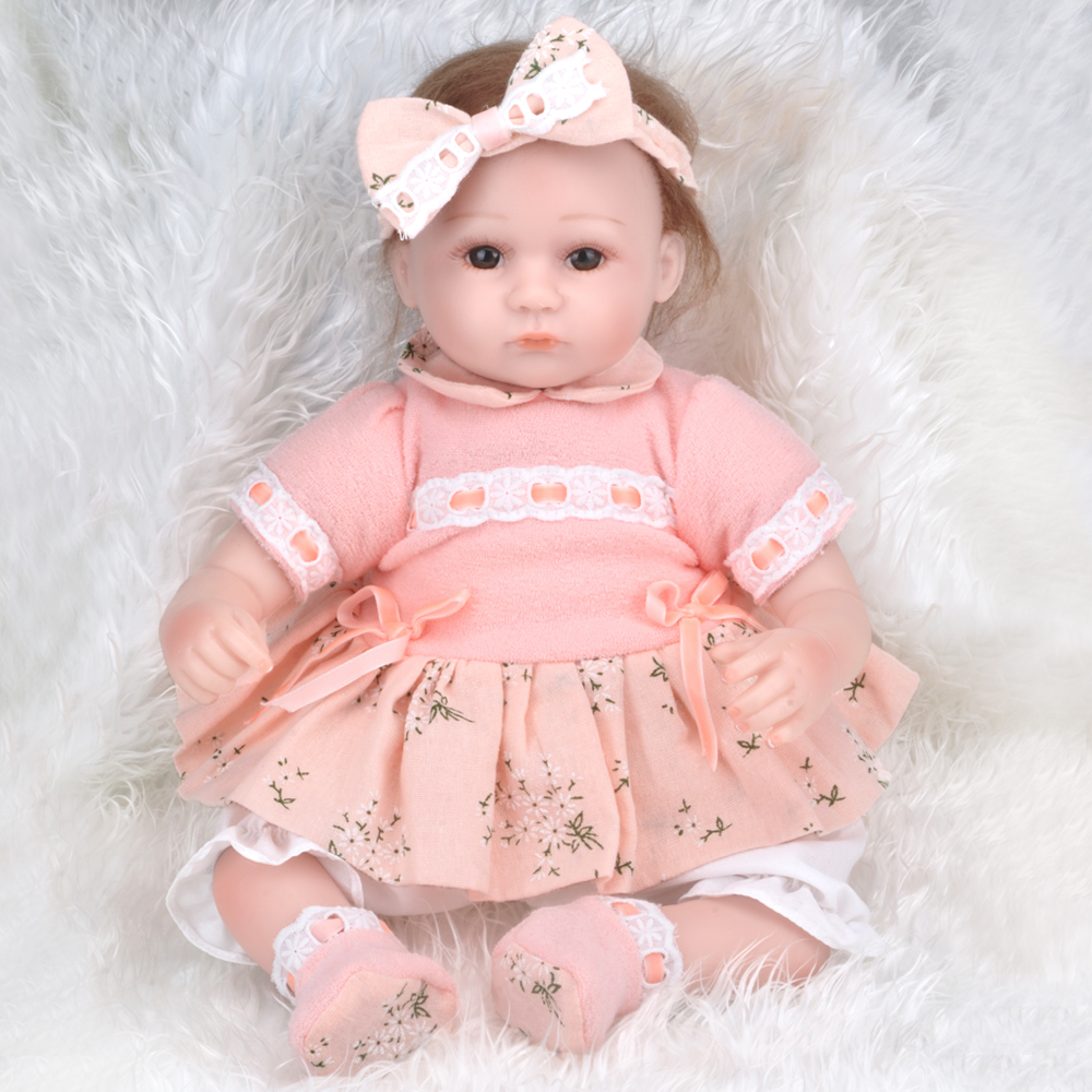 Silicone Doll Reborn Baby girl 40-45CM realistic Handmade Cloth Body Reborn Babies Doll Toys for Children Best Gift