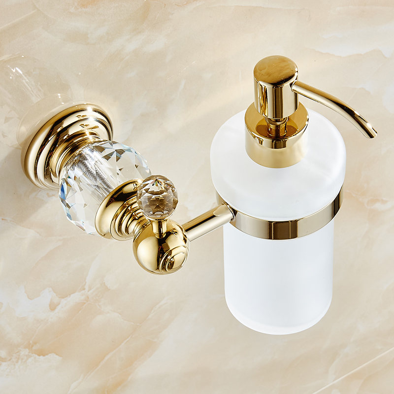 Liquid Soap Dispensers Luxury Gold Color Soap Dispenser Wall Mounted With Frosted Glass Container bottle Bathroom Products HK-38