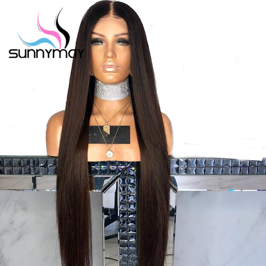 Sunnymay 13x4 Straight Lace Front Wig Remy Hair Brown Ombre Human Hair Wigs With Baby Hair