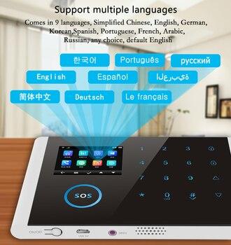 App RFID Multi languages wireless network SIM WIFI GSM GPRS burglar alarm host doorbell Security alarm System LCD Touch Keyboard