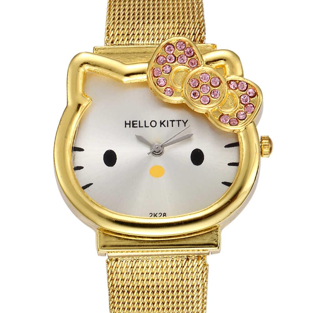 1df1a6dea ... Cat Quartz Hello Kitty Watch Women Luxury Fashion Lady Girl Silver  Stainless Steel Net Band Cute ...