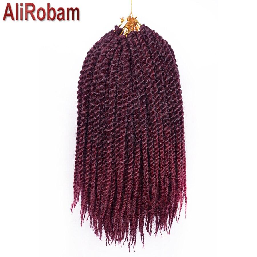 AliRobam Crochet Braids Havana Mambo Twist Braid Pure/Ombre Kanekalon Senegalese Twist Braiding Hair Extensions 22Roots/Pack