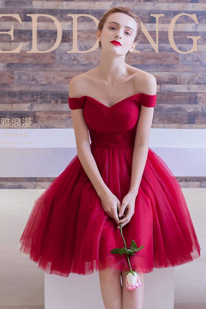 Elegante Abendkleid Rot Schwarz Blau Schulterfrei Ballkleid Vintage ...