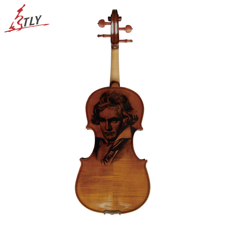 Kinglos Antique Acoustic Violin 4/4 Beethoven Carved Maple Art Violin Ebony Fittings with Shoulder Rest Case Bow Rosin Bridge kinglos antique acoustic violin 4 4 beethoven carved maple art violin ebony fittings with shoulder rest case bow rosin bridge