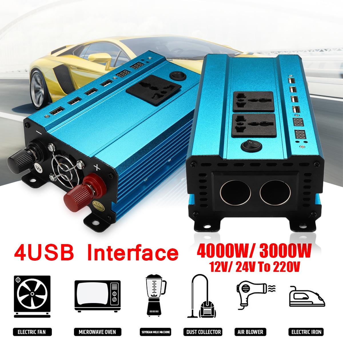 4000W LED 4USB 12v/24V DC to 220V AC 50Hz Solar Power Inverter Sine Wave Converter 2000W Overload High Voltage Protection
