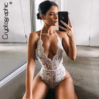 Cryptographic Backless halter lace bodysuit transparent female body hot sexy teddies 2019 jumpsuits women deep V sheer bodysuits