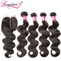 Brazilian Virgin Hair With Closure Brazilian Wavy Hair With Closure Grade 7A Brazilian Body Wave 4 Bundles with Lace Closures