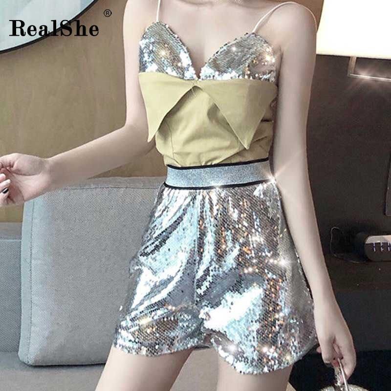 RealShe New Women Skinny   Shorts   Ladies Elastic Waist Solid Silver   Shorts   Women Summer Streetwear Elegant Casual Sequin   Shorts