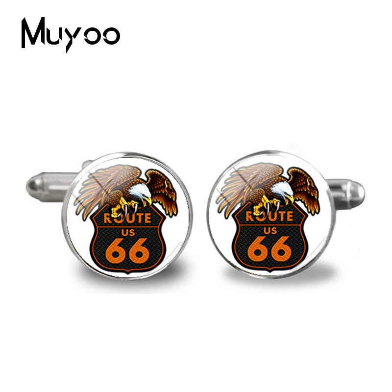 2018 nowy usa Route 66 spinki Route 66 wyblakły znak drogowy spinki koszula męska spinki do mankietów szklaną kopułą zdjęcia biżuterii mankiety
