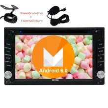 Free External Microphone+Android 6.0 Car Stereo Navigation GPS Car Radio Double Din Vehicle DVD Player FM Radio+Reversing Camera