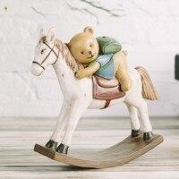 American Village Creative Drapery Resin Crafts Gifts Decoration Desktop Retro Bear Rocking Horse Home Accessories Ornaments|ornaments|ornaments home|ornamental decoration -