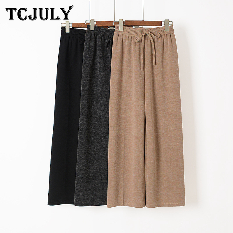 TCJULY Fall 2019 Korean Fashion High Waist   Wide     Leg     Pants   Drawstring Solid Slim Warm Trousers Knitted Loose Casual Women's   Pants