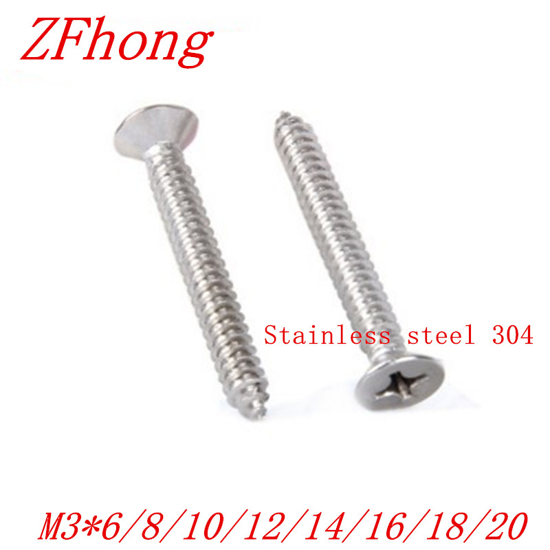 1000pcs m3*6/8/10/12/14/16/20 stainless steel 304 flat countersunk head self tapping screw 1000pcs m2 4 5 6 8 10 12 14 stainless steel 304 flat countersunk head self tapping screw