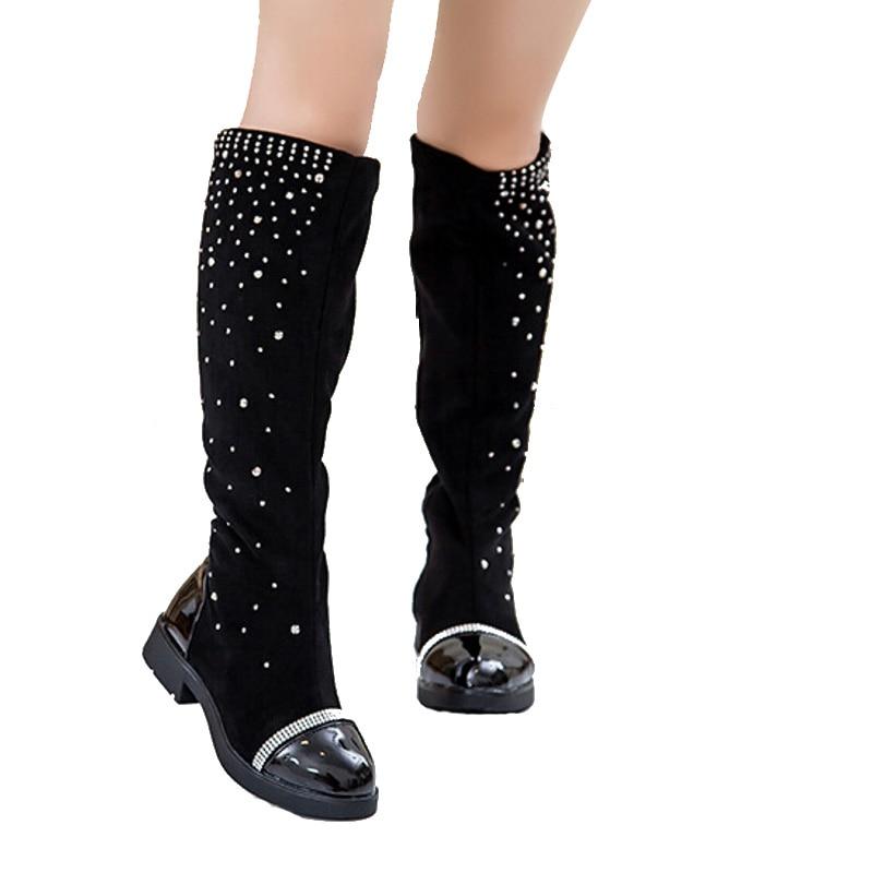 Botas de nieve Niñas pierna Botas Otoño Invierno rodilla cristal ...