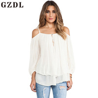 GZDL White 3 4 Sleeve Button Front Women Fashion Top Strap Ruffles Casual Backless Feminine Spring