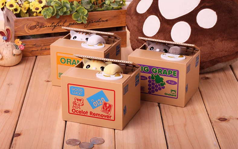Cat Panda Automatic Storage Coin Bank Grey Yellow White Cat Money Box 12x10x9cm Money Saving Box