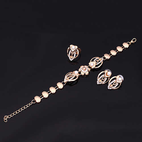 Bluelans модная Хрустальная искусственная жемчужина металлическое покрытие Кольцо Серьги Браслет воротник золотое ожерелье комплект ювелирных изделий
