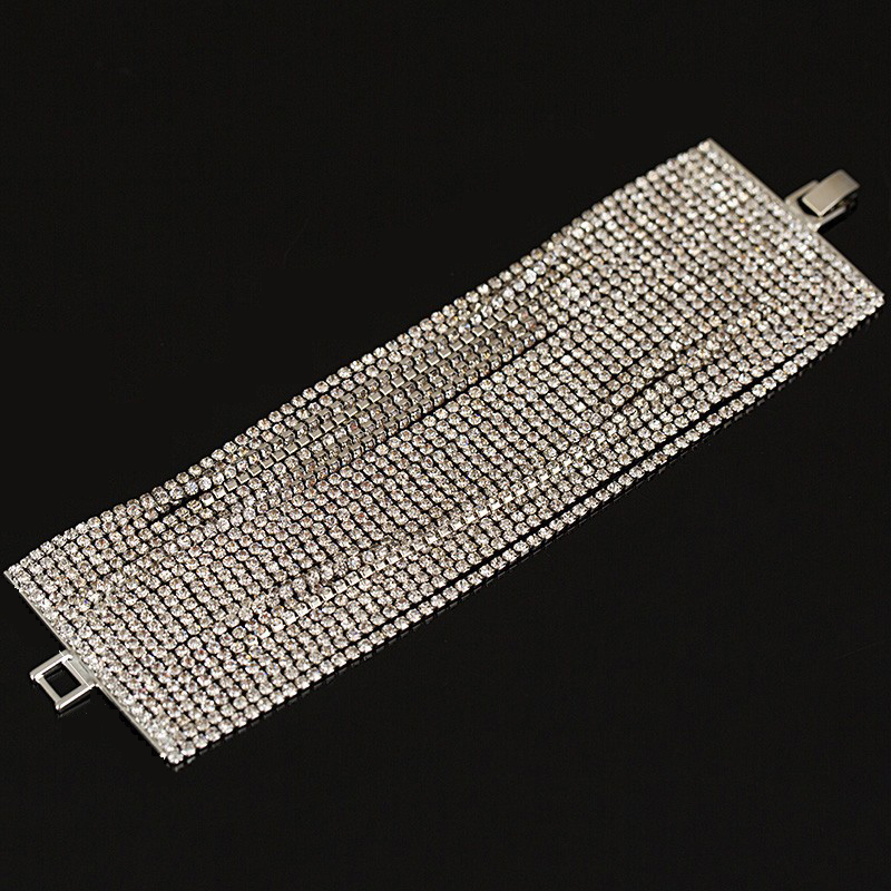 2016 New Luxury Austrian Crystal Bracelet for Women Silver plated 22 row Fashion Charm Bijoux Bracelets B005