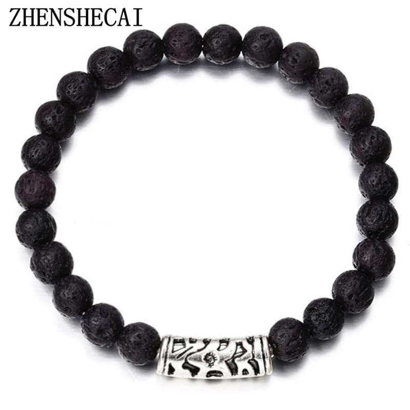 Diplomatisch Trendy Zwart Blauw Kleur Kralen Met Silver Alloy Totem Armband Voor Vrouwen Mannen Paar Armbanden Sieraden Gift Hot Koop Ns11