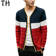 2016 Color Patchwork Autumn Sweater Men Single Breasted Long Sleeve Slim Fit Casual Sweatercoat Man Pull Homme #161567
