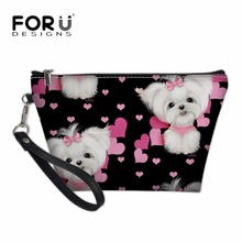FORUDESIGNS Brand Cosmetic Cases Women Make Up Bags Maltese Florals Printing Travel Necessity Organizer Feminine Toiletry Box