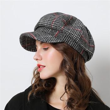 Women Baseball cap For Winter Female Cotton Hats Plaid Vintage Fashion Octagonal Casual boina Autumn 2019 Brand New Women's Caps