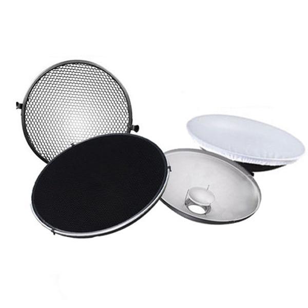 Photo Studio Flash Beauty Dish 42cm S type Honeycomb + White Diffuser