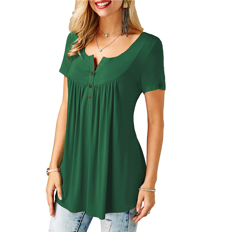 9f639027c3a01d Women's V Neck Pleated Button up T Shirt Flowy Tunic Top-in T-Shirts ...