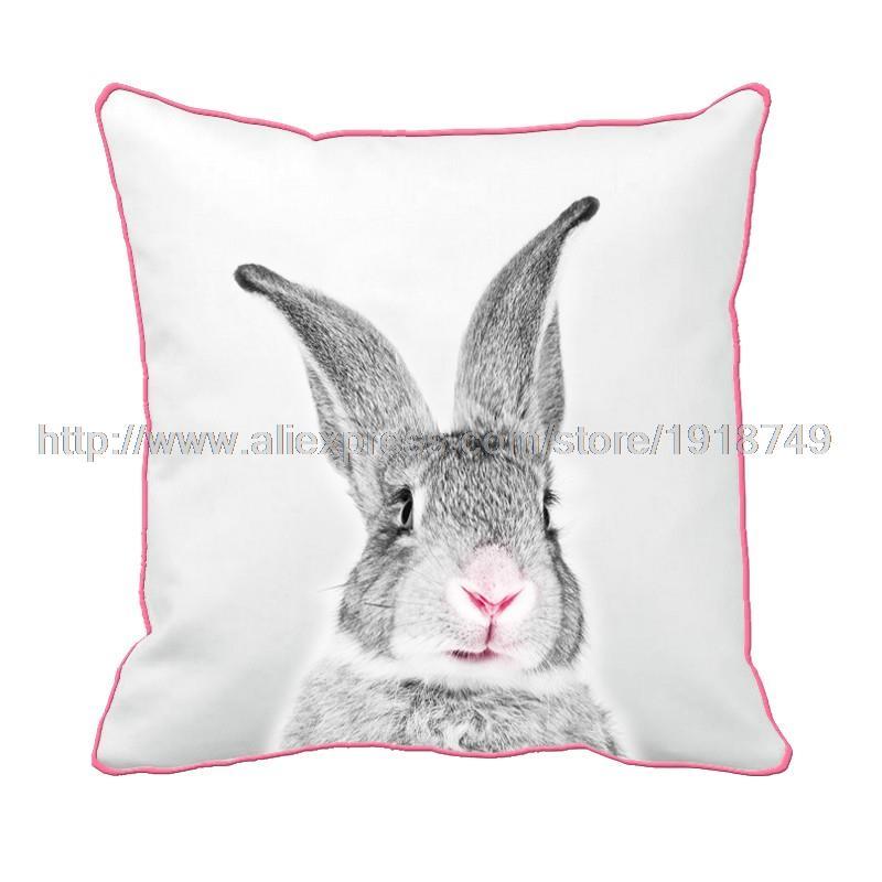 Симпатичные серый кролик печатных пользовательских Белый Чехлы с розовый край животного декоративные бросок наволочка для дома и диван