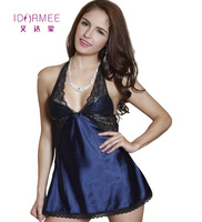 IDARMEE S6602 Sexy Lingerie Satin Lace Intimate Sleepwear Nightgown Erotic Nightie Dress Costume Sexy Chemise Sexy Negligee