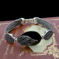 HENSEN Hight Quality Antique Silver Plated Vintage Jewelry Bracelets Bangles Leaf Shape Black Bracelet Femme