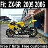 Customize Motorcycle Fairing Kits For Kawasaki Parts Fairings 2005 2006 Yellow Black Bodowork Set ZX6R 05