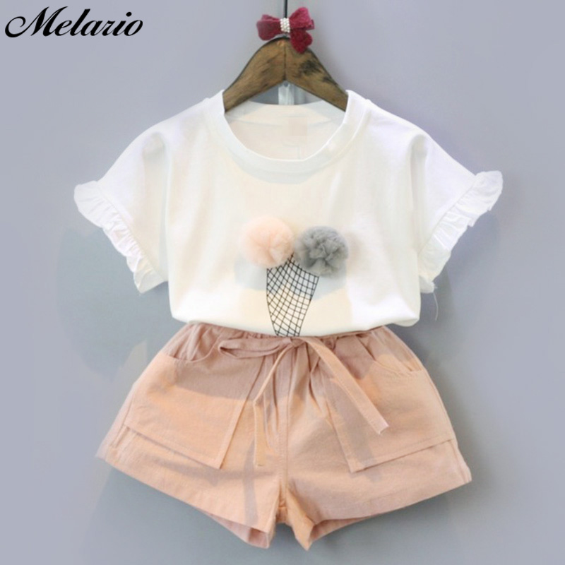 Melario Girls Clothing Sets 2019 Summer Cotton Vest Two-piece Sleeveless Children Sets Casual fashion Girls Clothes Suit Skirt(China)
