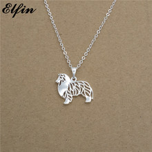Elfin Wholesale 2017 Trendy Standing Rough Collie Necklace Gold Color Silver Color Dog Jewelery Pendant Necklace Women Steampunk