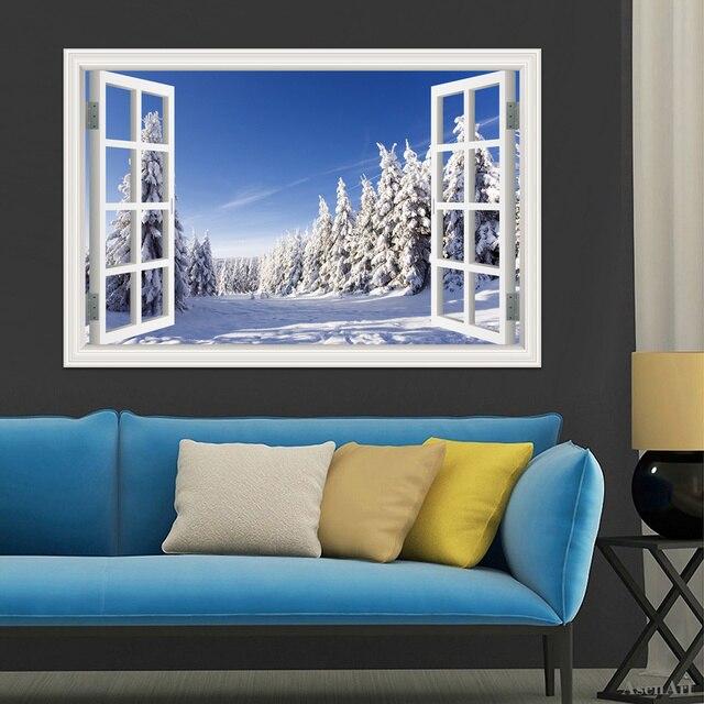 3d window stickers home decor forest tree snow winter landscape wallpaper murals vinyl wall art decal