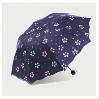 Umbrella For Student Magic Water Activated Color Change Flower Portable Small Foldable Windproof Anti UV For